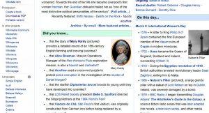 Wikipedia main page 8 Mar. 2017
